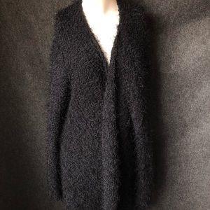 Black knit open cardigan plus size